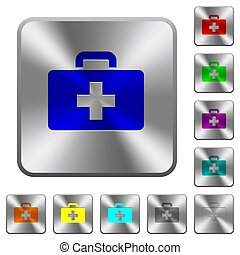 First aid kit rounded square steel buttons