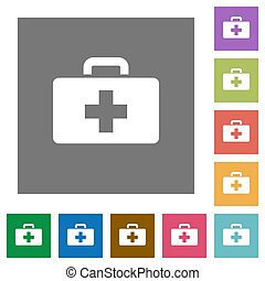 First aid kit square flat icons