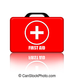First Aid Kit - first aid kit over white background
