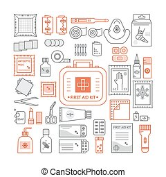 First aid kit - Vector set of first aid kit box , medical...