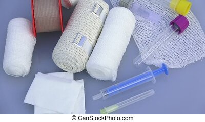 First aid kit with dressing material. Medical instruments, medical blood tube, test tube for laboratory