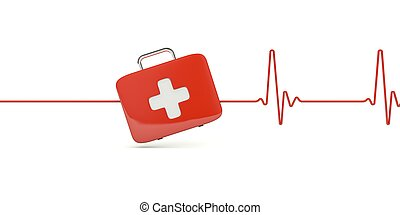 First AID kit with heartbeat isolated on white