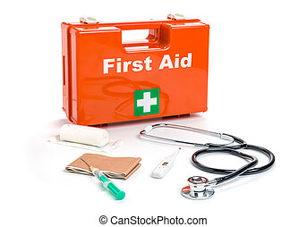 First aid kit with medical products and equipment