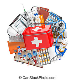 First aid kit with medical supplies and equipment, pills, drugs and fstethoscope. Health care, pharmacy and medicine concept.