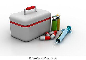 First aid kit with medicines