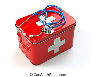First aid kit with stethoscope isolated on white.