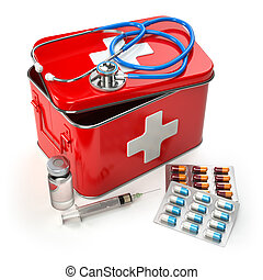 First aid kit with stethoscope, pills and syringe on the table.