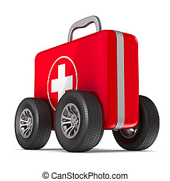 First aid kit with whells on white background. Isolated 3D...