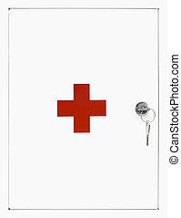 Locked white First Aid box