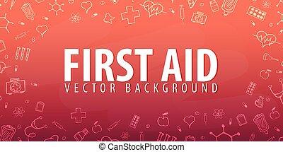 First Aid. Medical background. Health care. Vector medicine illustration.