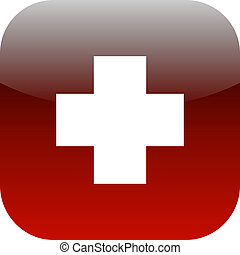 First aid medical button isolated on white background for app
