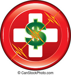 Illustration of a first aid health icon or medical symbol with dollar sign representing medical costs and heartbeat line on a button.
