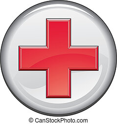 First Aid Medical Cross Button - Illustration of a first aid...