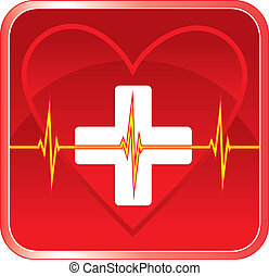 Illustration of a first aid health icon or medical symbol with heart, cross and heartbeat line.