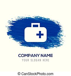 First aid medical kit icon - Blue watercolor background