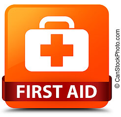 First aid orange square button red ribbon in middle