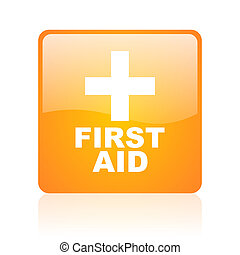 first aid orange square glossy web icon