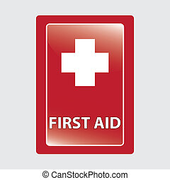 First aid  over red medical background.