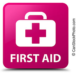 First aid pink square button