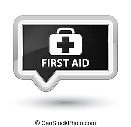 First aid prime black banner button