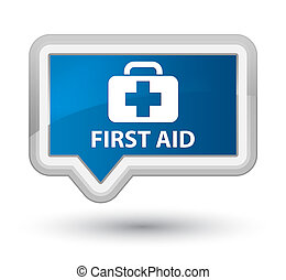 First aid prime blue banner button