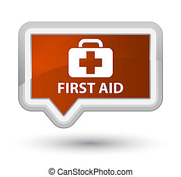 First aid prime brown banner button