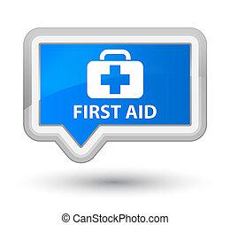 First aid prime cyan blue banner button
