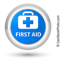 First aid prime cyan blue round button