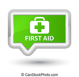 First aid prime soft green banner button