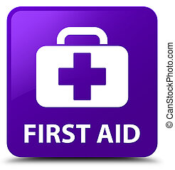 First aid purple square button