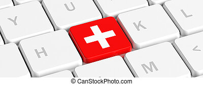 First aid. Red key button with white cross sign on a computer keyboard, banner. 3d illustration