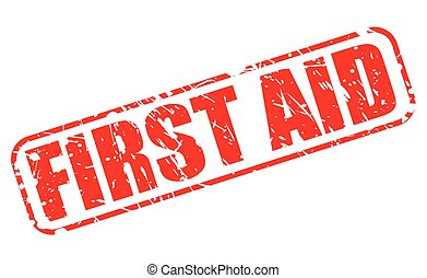 First aid red stamp text on white