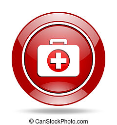 first aid red web glossy round icon