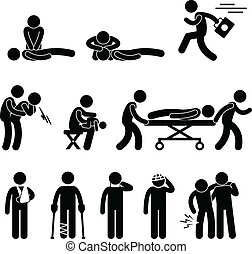 First Aid Rescue Emergency Help CPR - A set of pictogram ...