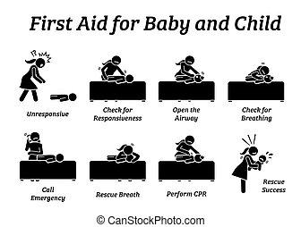 First aid rescue emergency treatment for baby, infant, or child stick figures icons.