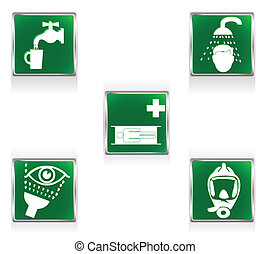 First aid signs - First aid icons representing five...