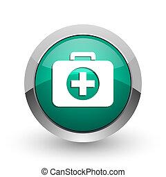 First aid silver metallic chrome web design green round ...
