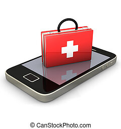 First Aid Smartphone - First aid case with smartphone on the...