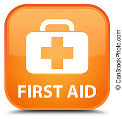 First aid special orange square button