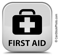 First aid special white square button