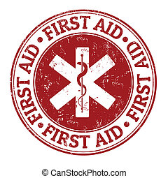 First aid stamp - First aid grunge rubber stamp on white,...