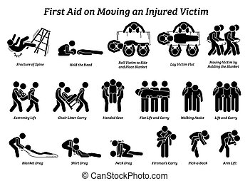 First aid techniques on moving an injured victim stick figures icons.