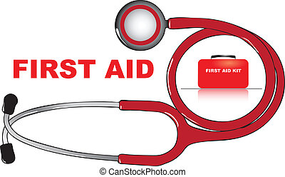 First Aid - The concept of first aid. Vector illustration.