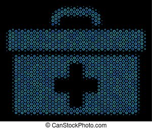 First Aid Toolbox Mosaic Icon of Halftone Bubbles - Halftone...