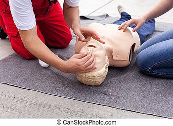 First aid training detail. Cardiopulmonary resuscitation...