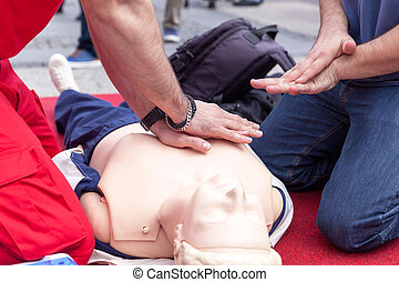 First aid training detail. CPR.