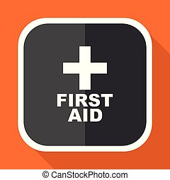 First aid vector icon. Flat design square internet gray button on orange background.