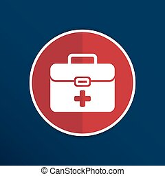 First aid vector icon kit medical box cross symbol.