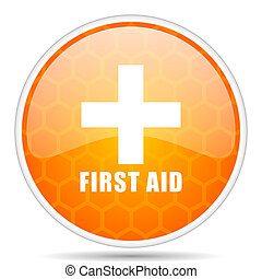 First aid web icon. Round orange glossy internet button for webdesign.