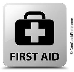 First aid white square button